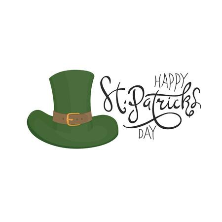 celtic background: Saint Patricks hat symbol. Celebration design for March, 17th. Hand drawn illustration. Beer festival badge