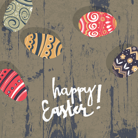 greetings card: Easter eggs on wooden board.  Happy Easter greetings card Illustration