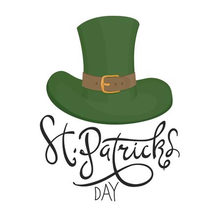 17th: Saint Patricks hat symbol. Celebration design for March, 17th. Hand drawn illustration. Beer festival badge