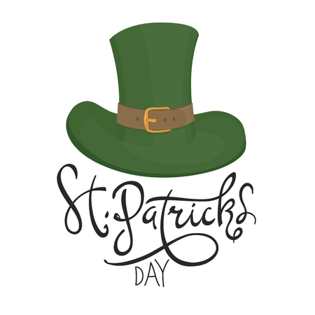 Saint Patricks hat symbol. Celebration design for March, 17th. Hand drawn illustration. Beer festival badge