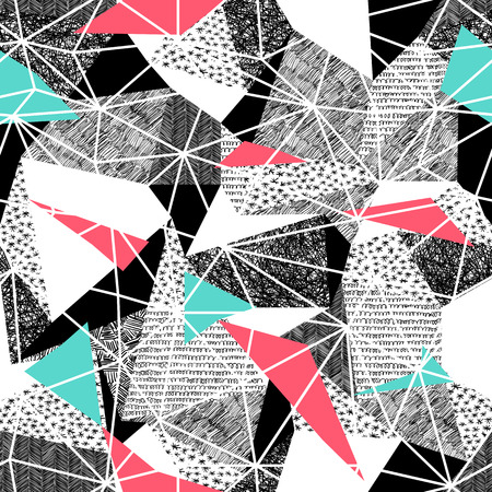 Geometric seamless pattern in retro style. Vintage background.Triangles and hand drawn patterns. Low poly seamless repeat pattern. Triangular facets. Vector pattern. Pink and Cyan Triangles
