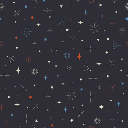 abstrakte muster: Geometric seamless pattern. Stars, planets, comets.