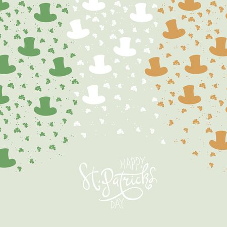 17th: St. Patricks Day Background. Clover leafs and hats on flag colors background for happy St. Patricks Day.