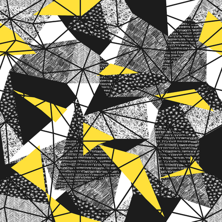 Geometric seamless pattern in retro style. Vintage background.Triangles and hand drawn patterns. Low poly seamless repeat pattern. Triangular facets. Vector pattern. Yellow Triangles