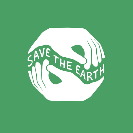 Save the Earth. Earth day concept. Logo design template. Hands hold Earth illustration.