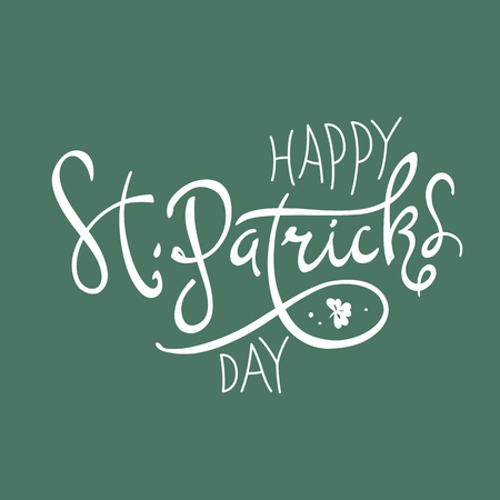17th: Happy Saint Patricks Day logotype. Celebration design for March, 17th. Hand drawn lettering typography. Beer festival badge Illustration