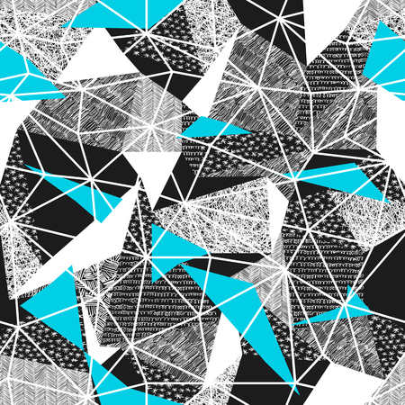 Geometric seamless pattern in retro style. Vintage background.Triangles and hand drawn patterns. Low poly seamless repeat pattern. Triangular facets. Vector pattern. Cyan Triangles