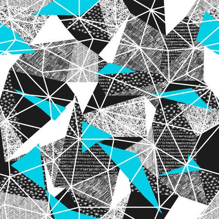 Teste padrão sem emenda geométrico no estilo retro. Vintage background.Triangles e padrões desenhados mão. Baixo padrão de repetição poly poly. Facetas triangulares. Teste padrão do vetor. Triângulos cianos Imagens - 74784850