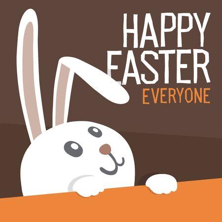 Feliz Pascua a todos. Conejo de Pascua. Ilustracion vectorial