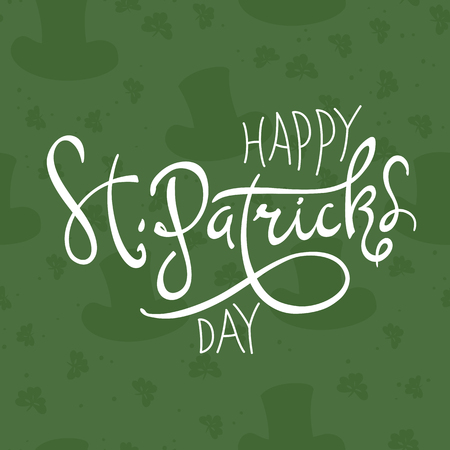 Happy Saint Patricks Day logotype. Celebration design for March, 17th. Hand drawn lettering typography. Beer festival badge Illustration