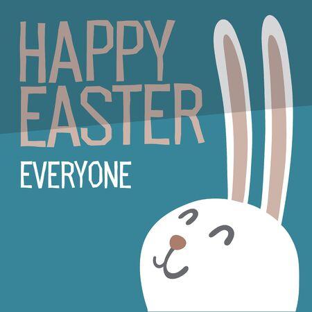 Feliz Pascua a todos. Pascua Bunny Ears Vector Illustration.