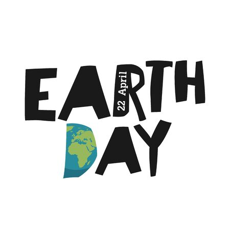 recycling symbols: Earth day ecology logotype template. Earth planet in shape letter D. 22 April text.