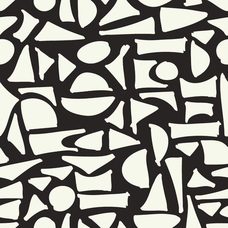 pattern geometric: Seamless hand drawn geometric pattern. Abstract white figures on black background