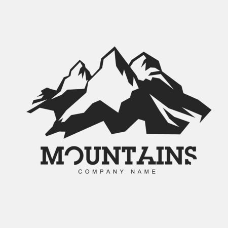 cool backgrounds: Mountains illustration. Vector abstract logo for adventure theme. Illustration