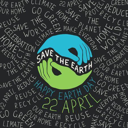 recycling symbols: Earth Day Poster. Hands shaped looks like the Earth planet.