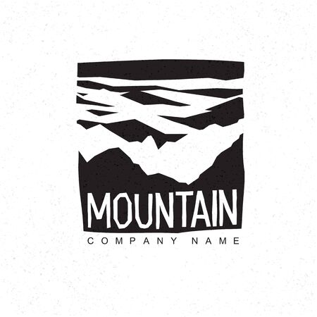 mountaineering: Mountains logo template with abstract peaks pattern. Mountain monochrome abstract pattern. Mountaineering and Traveling icon.