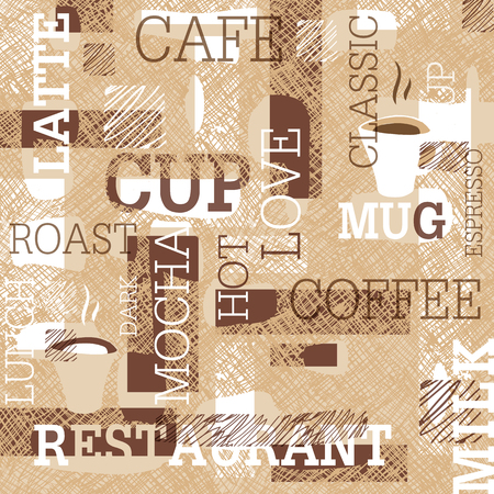 gamut: Coffee Themed Seamless pattern. Words, cups of coffee, and creative doodles. Beige and brown gamut. Abstract pattern for cafe or restaurant brand design.