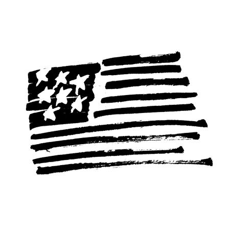 Hand drawn American flag Stars and stripes monochrome Illustration. Painted by Brush. Black symbol isolated on white.