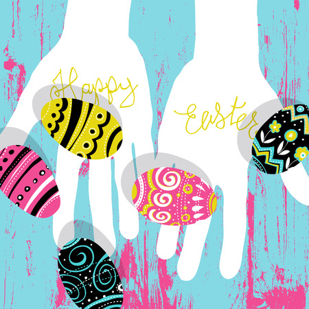 table decor: Easter eggs in hands. Bright colors Easter postcard. Calligraphy, wooden board. Vector illustratiion. Illustration