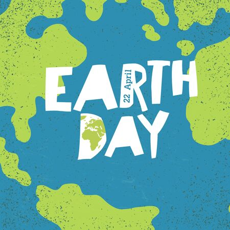 Earth day, 22 April postcard design. Creative design poster for Earth Day holiday. World map pattern. Illustration