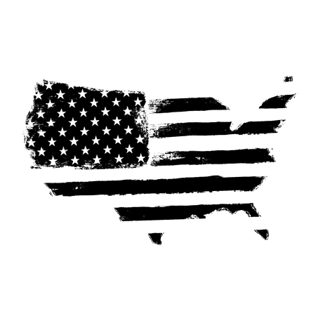 star shaped: America map flag shaped. Territory of United States of America with flag. Shape of american map. Monochrome image, isolated on white. Vector illustration