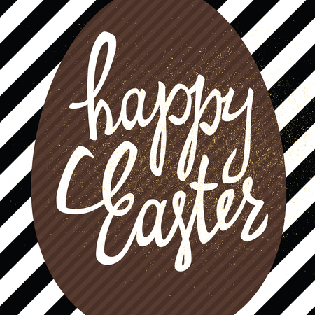 brown egg: Happy Easter calligraphy greeting card. Diagonal black lines background pattern. Gold textured vector illustration