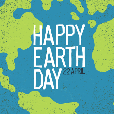 Earth day, 22 April postcard design. Creative design poster for Earth Day holiday. World map background.