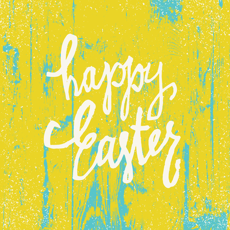 Happy Easter Greeting Card. Hand drawn calligraphy. Wooden texture Background. Bright yellow colors Illustration