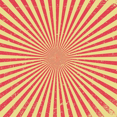 Red rays vintage textured background. Grunge retro texture