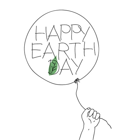 Child hold the thread of balloon with Happy Earth Daygreeting text and leaf sign. Vector illustration of outline sketch with hand-drawn text and green leaf on balloon. Abstract greeting card, isolated on white background.