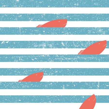 rayas de colores: Fondo marino con peces rojos sin costuras. Líneas azules patrón transparente. Vectores