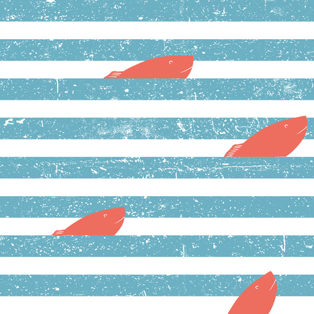 blue lines: Marine background with red fish seamless. Blue lines seamless pattern. Illustration