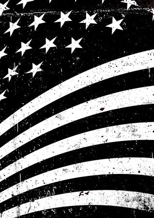黒と白のグランジ アメリカ合衆国波状フラグ。抽象的なアメリカの愛国心が強い背景。グランジ ベクトルの図 a4