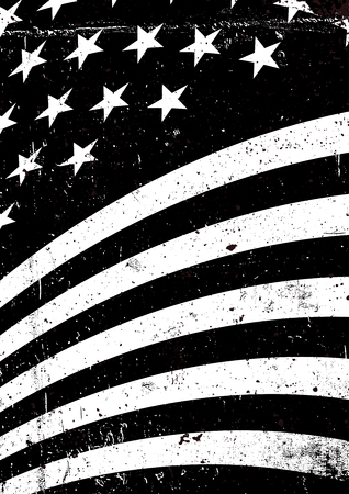 Black and white grunge United States of America wavy flag. Abstract American patriotic background. Vector grunge illustration, A4 format