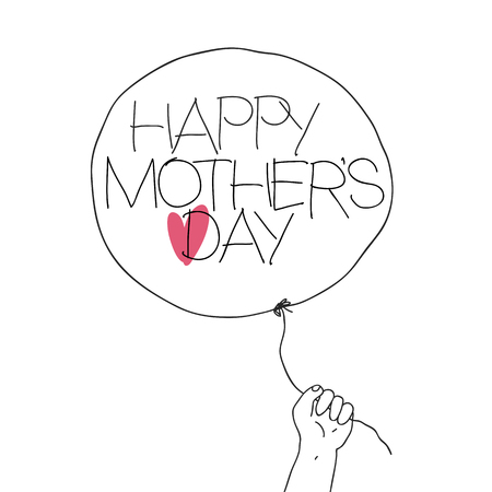 mamma: Child hold the thread of balloon with greeting text and heart sign. Vector illustration of outline sketch Mothers day with hand-drawn text and red heart on balloon. Abstract greeting card, isolated on white background. Illustration