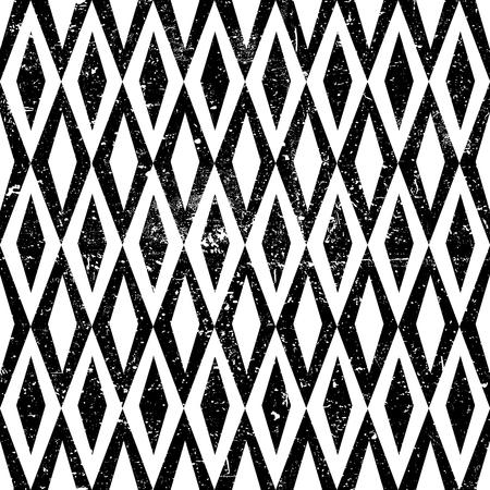 twill: Seamless Vintage Rhombus Pattern. With Grunge Textured Background.