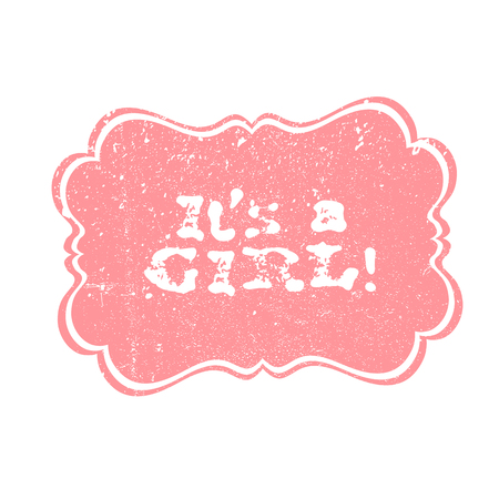 Its a boy lettering, its a girl lettering. Baby shower party design element. Vector greeting labels.