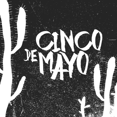 mayo: Cinco de Mayo vector illustration. Grunge monochrome holiday vector. Cinco de Mayo holiday background.