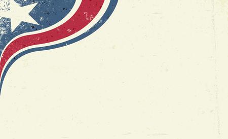 Fondo patriótico abstracto de Grunge America. Estrella y franja roja, composición de esquina. Fondo de vector