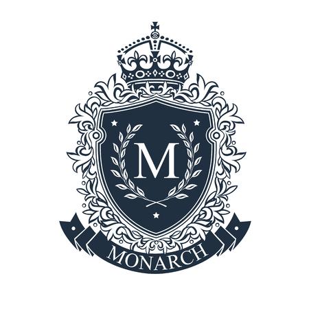 Blason. Bouclier d'emblème héraldique royale avec couronne et couronne de laurier. Modèle de vecteur héraldique. Banque d'images - 82149759