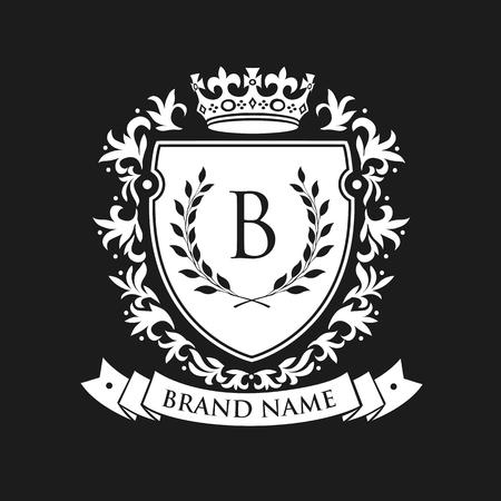 Escudo emblemático heráldico con corona y corona de laurel. El escudo abarca escudo heráldico del emblema de la marca de fábrica del vintage. Ilustración del vector