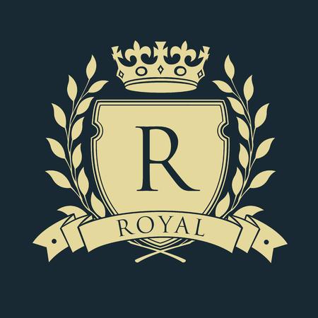 Koninklijk wapenschild. Heraldisch koninklijk embleemschild met kroon en lauwerkrans. Vector illustratie