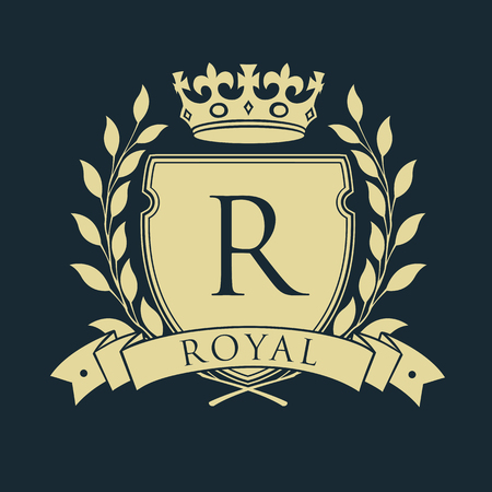 Royal coat of arms. Heraldic royal emblem shield with crown and laurel wreath. Vector illustration