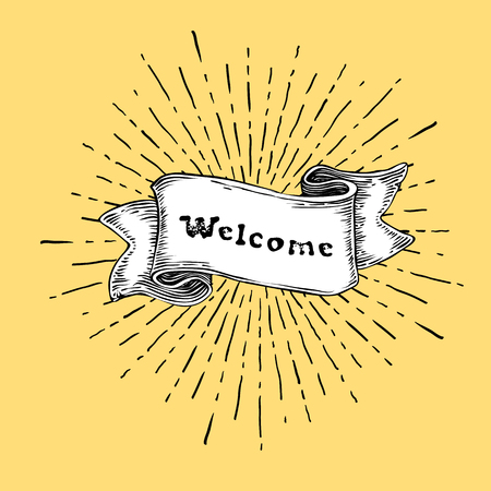 "Welcome sign. Vintage sign with ""welcome"" word on ribbon. Retro style illustration on yellow background"