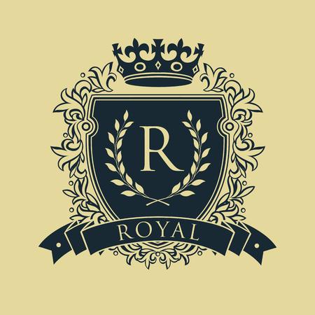 Wapenschild. Heraldisch koninklijk embleemschild met kroon en lauwerkrans. Vector illustratie Stock Illustratie