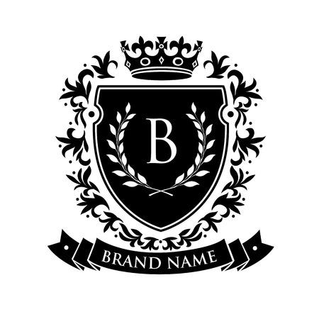Scudo emblema araldico con corona e corona d'alloro. Stem Stem Shield Vintage Brand Crest. Illustrazione vettoriale Vettoriali
