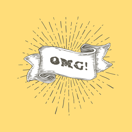 super woman: OMG!. OMG text on vintage hand drawn ribbon. Graphic art design on yellow background. Illustration