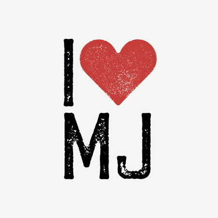 dirty t shirt: I love MJ text with red heart. T-shirt print design template. Vector illustration. Isolated on white background. Illustration