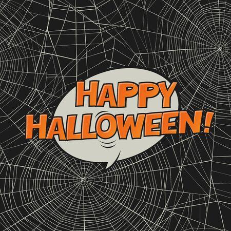 postcard: Halloween vector postcard. Spider web and greetings. Vector art.