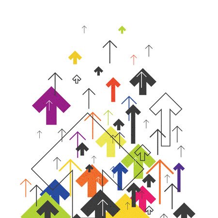 Arrows Up. Colorful arrows on white background. Abstract Success Concept. Growing arrows Illustration. Motion Up. Successful Background Cover Design for annuals reports, brochures, etc